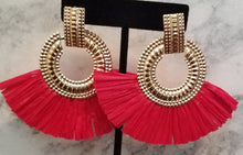 Load image into Gallery viewer, Red Fan Earrings