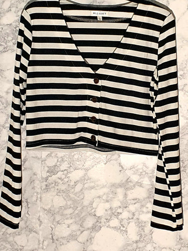 Striped Cropped Cardigan