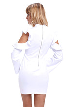 "Load image into Gallery viewer, ""Sofia"" White Ruffle Sleeve Mini Dress"