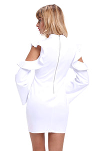 """Sofia"" White Ruffle Sleeve Mini Dress"