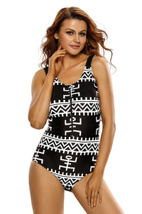 Tribal Zip Front Swimsuit