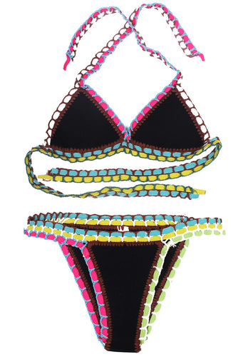 Plus Halter Neck Crochet Bikini