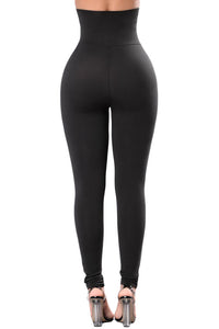 """Belted"" High Waist Corset Leggings"