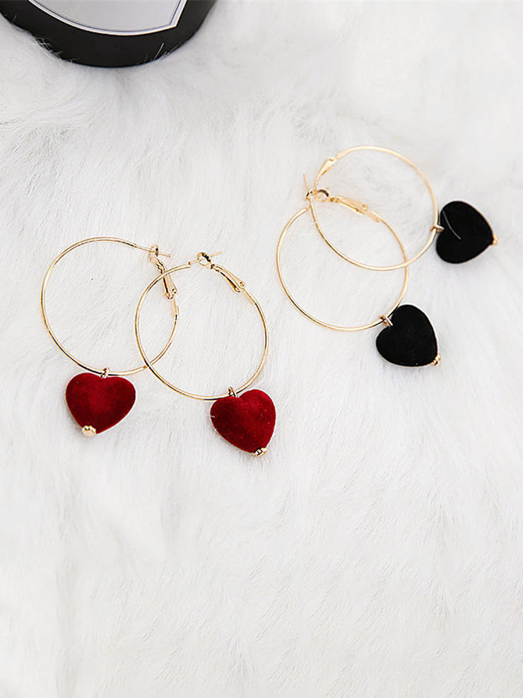 Small Velvet Heart Charm Earring
