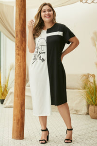 """Soriah"" Two Tone T-Shirt Dress"