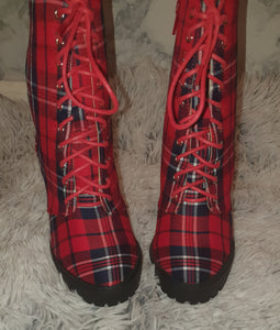 """Zoe"" Plaid Booties"