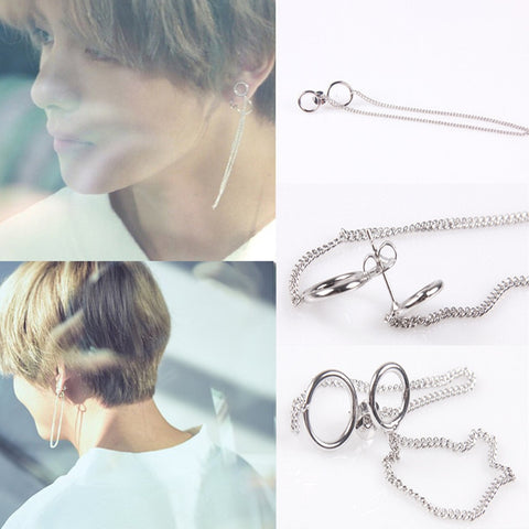 2017 New Fashion 1 Pair KPOP BTS V Earrings Bangtan Boys V Stud Doulbe Ring Chain Long Earrings Jewelry