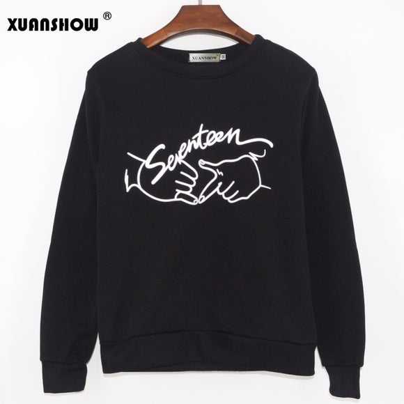 2018 Autumn New Arrival kpop seventeen printing o neck sweatshirt for Fans Fashion Pullover Hoodies Moleton Feminino Inverno