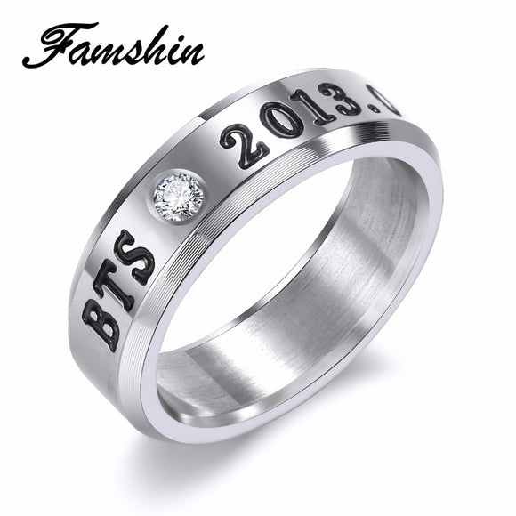 FAMSHIN BANGTAN BOYS BTS Ring Men Women Stainless Steel KPOP JUNGKOOK JIMIN JIN V SUGA J-HOPE Name Rings Gifts