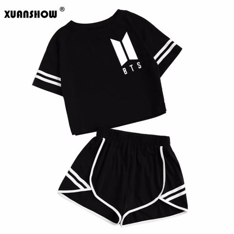 XUANSHOW 2018 Summer Cotton Striped Women's Tracksuit BTS Clothes Set 2 Piece Woman Suits Shorts Crop Tops + Shorts Pants Outfit