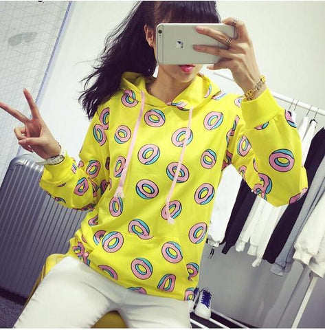 Cute donut print pullovers 2018 Spring women hoodies sweatshirts yellow large size M-XL sudaderas mujer fashion feminino moleton
