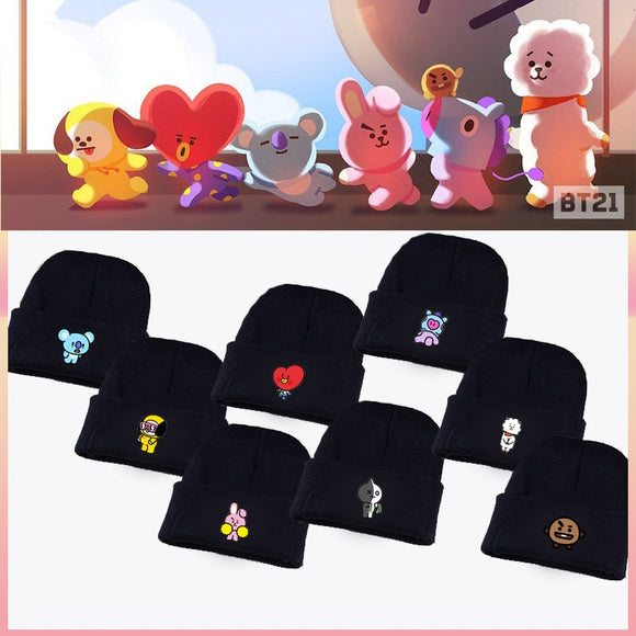 Kpop home Bangtan boys BTS bt21 Same Fans Club beanie hat Hiphop cap women's hat coolTATA VAN COOKY CHIMMY SHOOKY KOYA RJ MANG