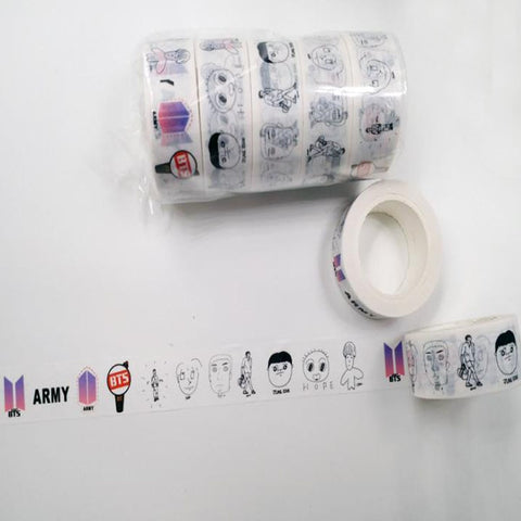 1 Pcs hot Kpop BTS Cute Washi Tape Paper Masking Scrapbook Notebook Sticker DIY 10m for school stationery