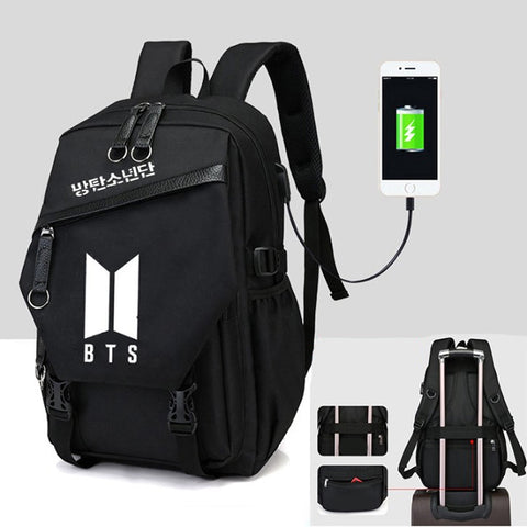 New Kpop BTS BT21 Bangtan Boys The Same Canvas Students Bag Phone Charge Backpack Fashion Teenage Backpack Travel Laptop Bag