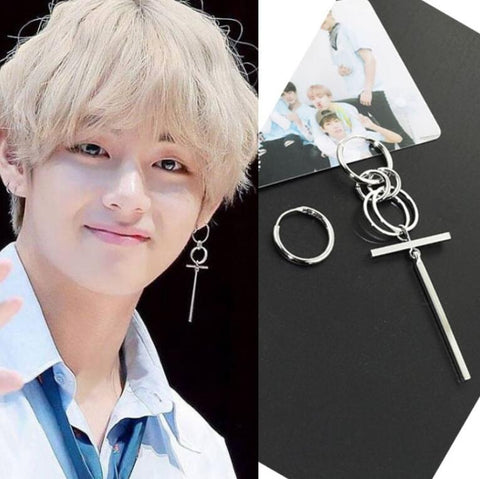 Jisensp Fashion Bts Earrings for Men Asymmetric Pop Jewelry Bangtan Boys V DNA Silver Earings Geometric Korean Earrings Women
