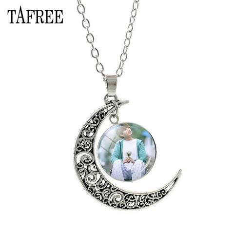 TAFREE Popular BTS BT21 Bangtan Boys Moon Pendants Necklace Korea Fashion BTS Album Love Yourself Accessories Jewelry Gift BTS54