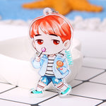 Cute Kpop BTS Keychain BT21 Bangtan Boys Key Chain Love Yourself Acrylic J-HOPE V SUGA Men Women Female Keyring Bts Accessories