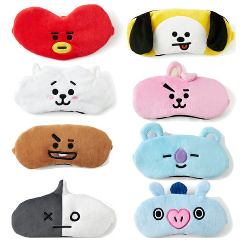 Skin Soft Touch Cartoon Eye Mask Toy BT21 BTS Travel Lunch Break Sleep Shading Breathable Natural Sleep Mask Figures Gift Kids