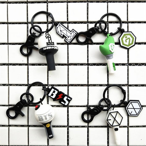 YOUPOP Kpop BTS Army EXO GOT7 WANNA ONE Bangtan Boys Album Bird Light Stick Keychain 3D Solid Key Chain Keyring Key Ring Pendant