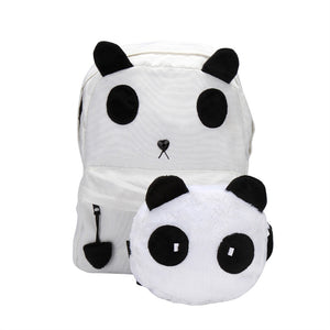 Panda Backpack Kawaii Cute White Black Bag Purse Animal Fluffy Fuzzy Soft Ears Furry Zipper for Women Lady Children Students