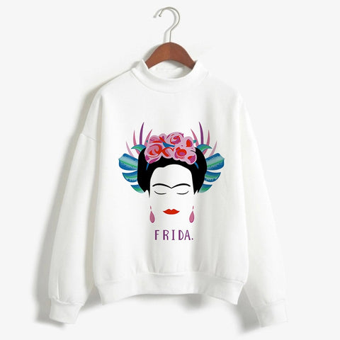 2018 Autumn Women Clothing Tops Kawaii Mexican female painter Print Hoodies Turtleneck Streetwear Pullover Hoodie Casual Female