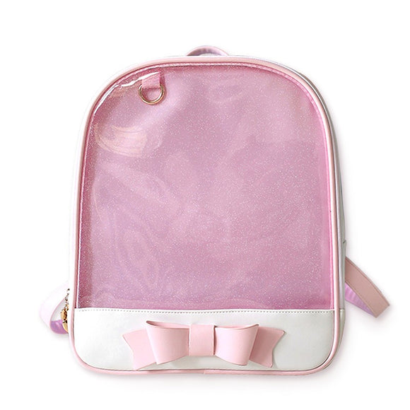 Cute Clear Transparent Bow Backpack Ita Bag Harajuku School Bags For Teenage Girls Rucksack Kids Kawaii Backpack Itabag