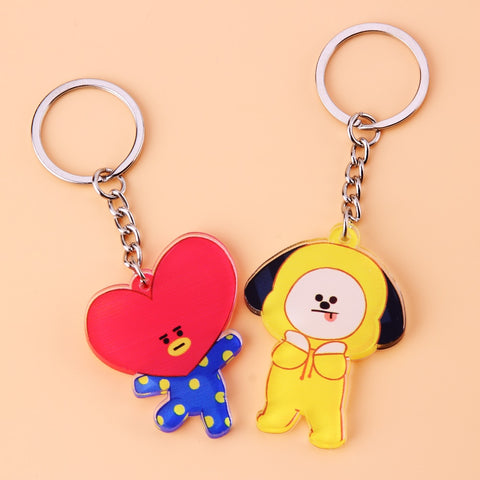 Cute Anime Kpop BTS BT21 Bangtan Boys Key Chain Love Yourself Acrylic J-HOPE V SUGA TATA COOKY SHOOKY Porte Clef Keychain