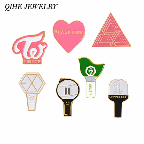 QIHE JEWELRY K-POP BTS Bangtan Boys LightStick Enamel pins BLACKPINK TWICE EXO GOT7 WANNA ONE SEVENTEEN LOGO Badges Jewelry