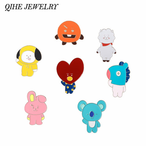 QIHE JEWELRY BTS Enamel pins Kawaii BT21 Characters Brooches TATA,COOKY,MANG,SHOOKY,RJ,CHIMMY Gift for K-pop fans,A.R.M.Y