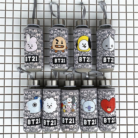 Kpophome new for BTS bangtan boys BT21 TATA COOKY CHIMMY around the same paragraph mug cute cartoon water glass bottle