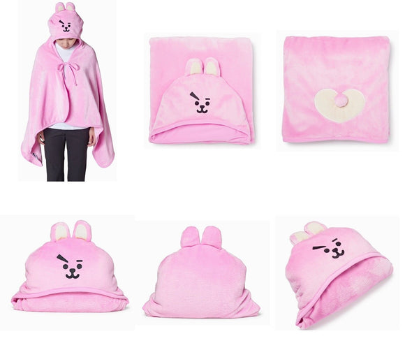 Kpop BTS BT21 CHIMMY COOKY TATA MANG KOYA SHOOKY RJ Hooded Blanket Soft Fleece Warm Shawl Nap Conditioner Blanket Outdoor Cloak