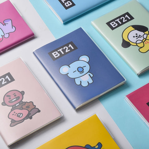 Kawaii BT21 Bangtan Boys PVC Cover Diary Travel Journal Book JIMIN V Jungkook Cartoon Kpop BTS Korean Stars Army Gift