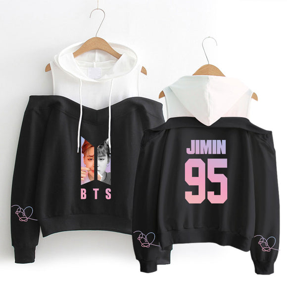 2018 New BTS Hoodies Sweatshirts Women Long Sleeve Off-Shoulder Exclusive Kpop Women Love Yourself Album Hooded Clothes