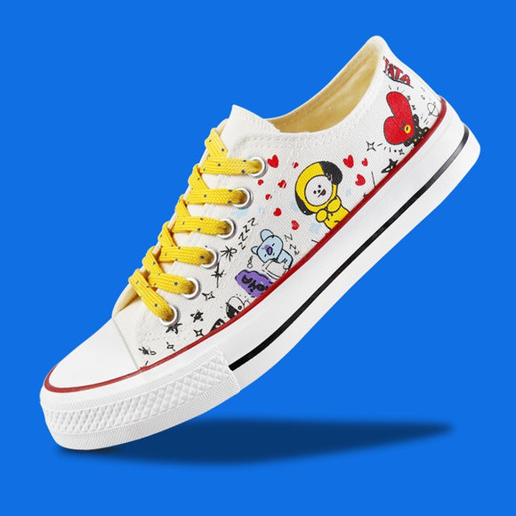 New Kpop BTS BT21 Bangtan Boys Canvas Low Tops Shoes JUNGKOOK JIMIN V Suga Women Casual Shoes