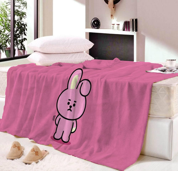 BT21 Printing Family Blanket for Kids BTS Microfiber Jurassic Plush Sherpa Throw Blanket on Bed Sofa Boys Bedding