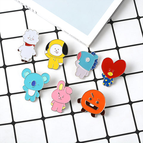 Cartoon Character BT21 Brooch CHIMMY RJ COOKY SHOOKY MANG TATA KOYA Soft Enamel Pins BTS Badge Animals Biscuits Heart Brooches