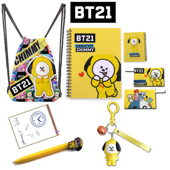 Kpop BTS BT21 ARMY CHIMMY COOKY RJ Drawstring School Bag Backpack+Notebook+Pencil Case+Ballpoint Pen+Keychain Christmas Cosplay