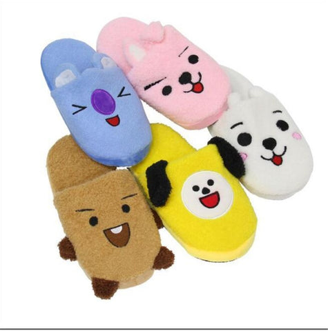 New Arrival BTS BT21 Cartoon Plush Stuffed Slippers Household Slippers Cotton Shoes Costume Kpop Girls Cute Winter Warn Slippers