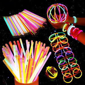 100pcs Glow in the Dark Stick Light Bachelorette Party Glasses DIY Necklace Bracelet Event Festival Concert Supplies Decoration