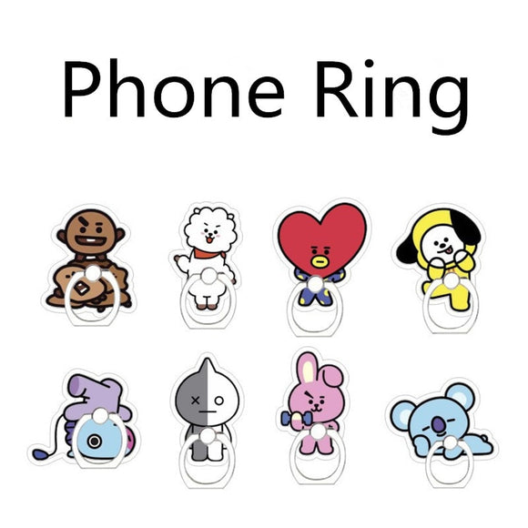 Kpop BTS BT21 Bangtan Boys Album CHIMMY COOKY KOYA MANG RJ SHOOKY TATA Case 360 Degree Finger Stand Holder Rings ZHK LU102