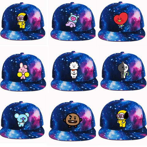 YOUPOP KPOP BT21 BTS Bangtan Boys Cartoon Starry Sky Album Baseball Cap Hip-hop Cap Men Women Hats JCF-MZ004