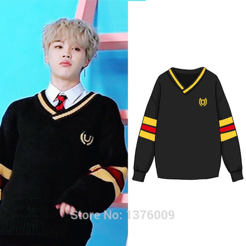 Kpop Bangtan Boys JIMIN Same Style Costume Female Knitted Sweater Long Sleeve School Vintage Retro Pullover BTS Student Harajuku