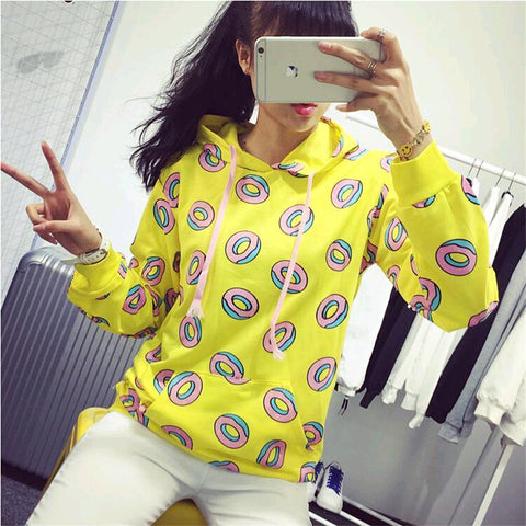 2018 New Women Cute Donuts Sweatshirts Simple Loose Long Sleeve Hoodies