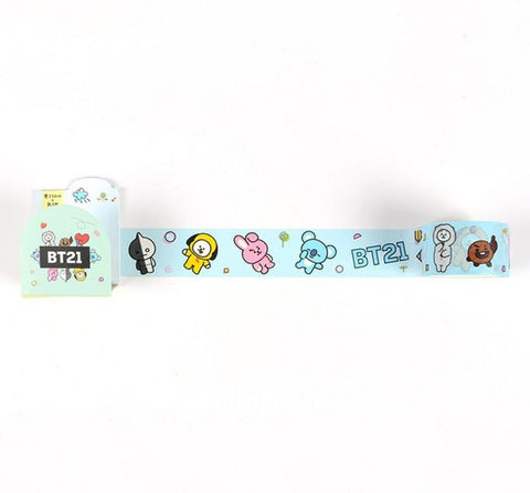 1 Pcs Kawaii BTS BT21 Cute Tape Cooky Tata Paper Scrapbook Sticker DIY Scrapbooking Diary Paper Stickers Decorative Masking Tape
