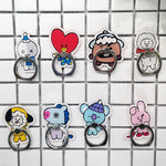 1 Pc Hot sale Cartoon Kpop BT21 BTS Figure 360 Degree Finger Ring Mobile Phone Stand phone Holder Action Figure Toys gift