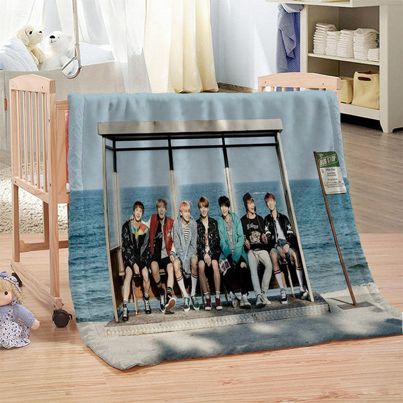 Printing Sherpa Blanket Girly Love BTS Bedspread Pink Blue Green Velvet Plush Cartoon Beds Blanket mantas