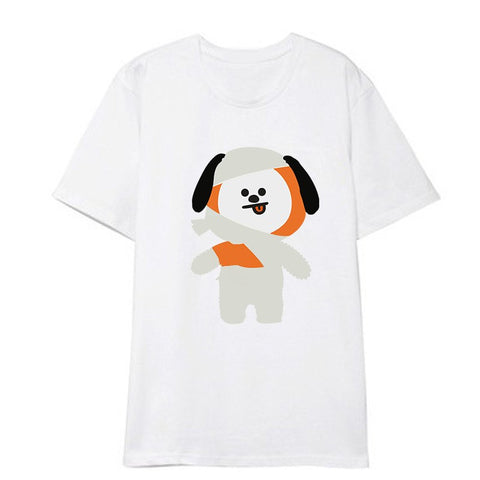 Kpop BTS BT21 Bangtan Boys Halloween Album Shirts HipHop Casual Loose Clothes Tshirt T Shirt Short Sleeve Tops T-shirt DX841