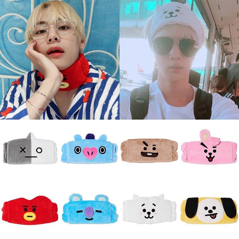 Xmas Gift 1PC Kpop BTS BT21 Cute Hair Band Tata Chimmy Cooky Wash Cleansing Headband Sweatband Gift For Unisex