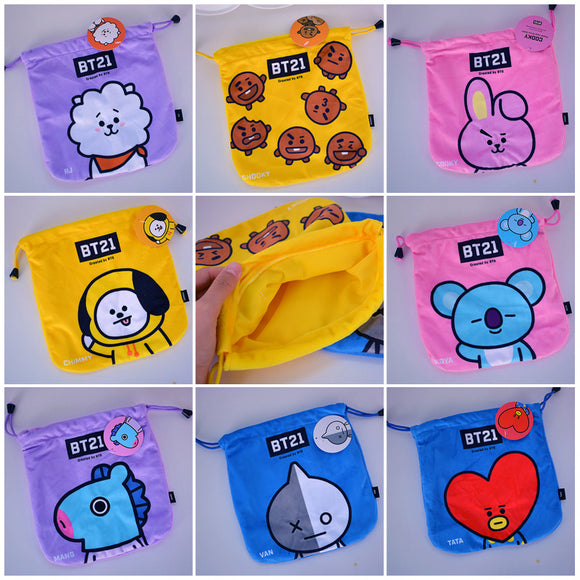cool 1PCS BTS BT21 TATA RJ Cartoon Drawstring Bags Cute Plush storage handbags makeup bag Coin Bundle Pocket Purse NEW