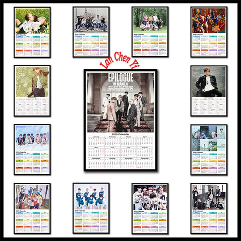 2019 Calendar Korean band BTS Series 2 Coated paper poster Cafe Creative wallpaper Interior Decoration Free Shipping 42X30cm